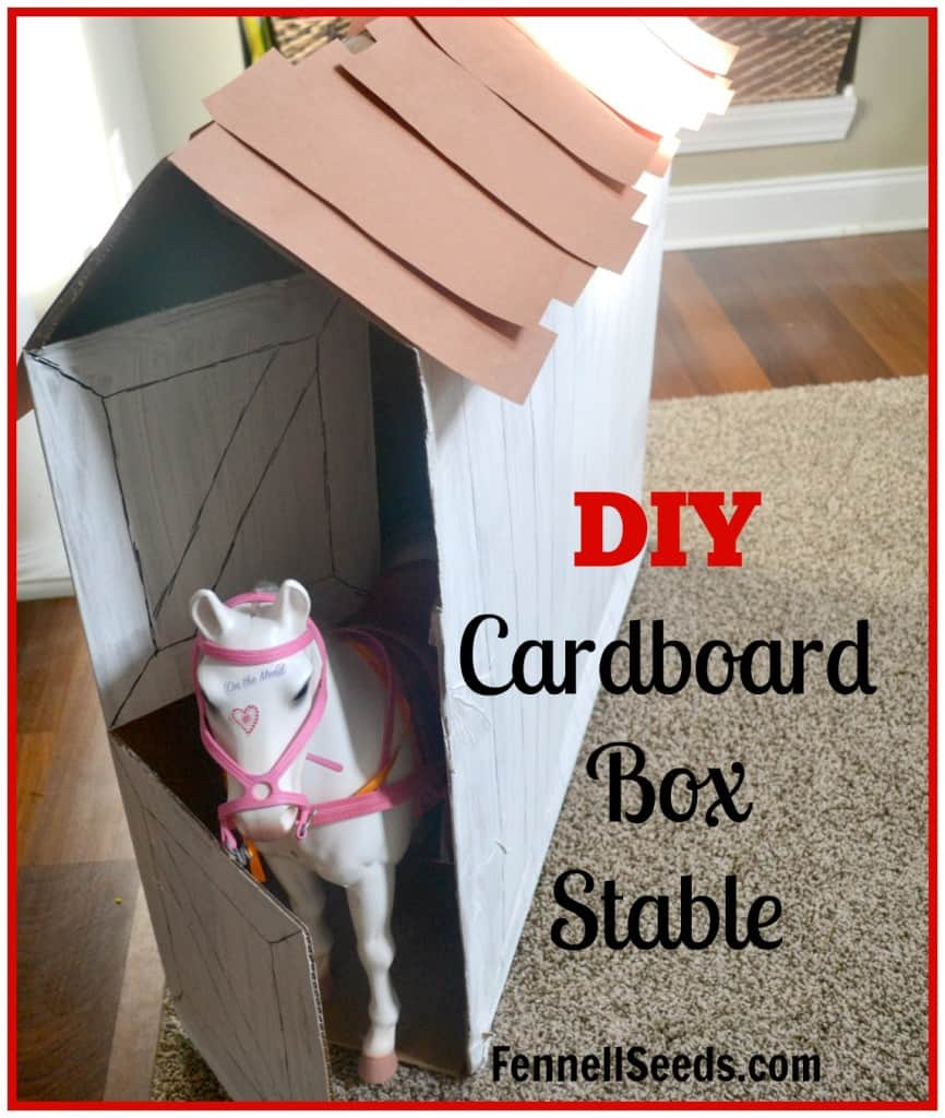 DIY Cardboard Box Stable to fit American Girl Horse