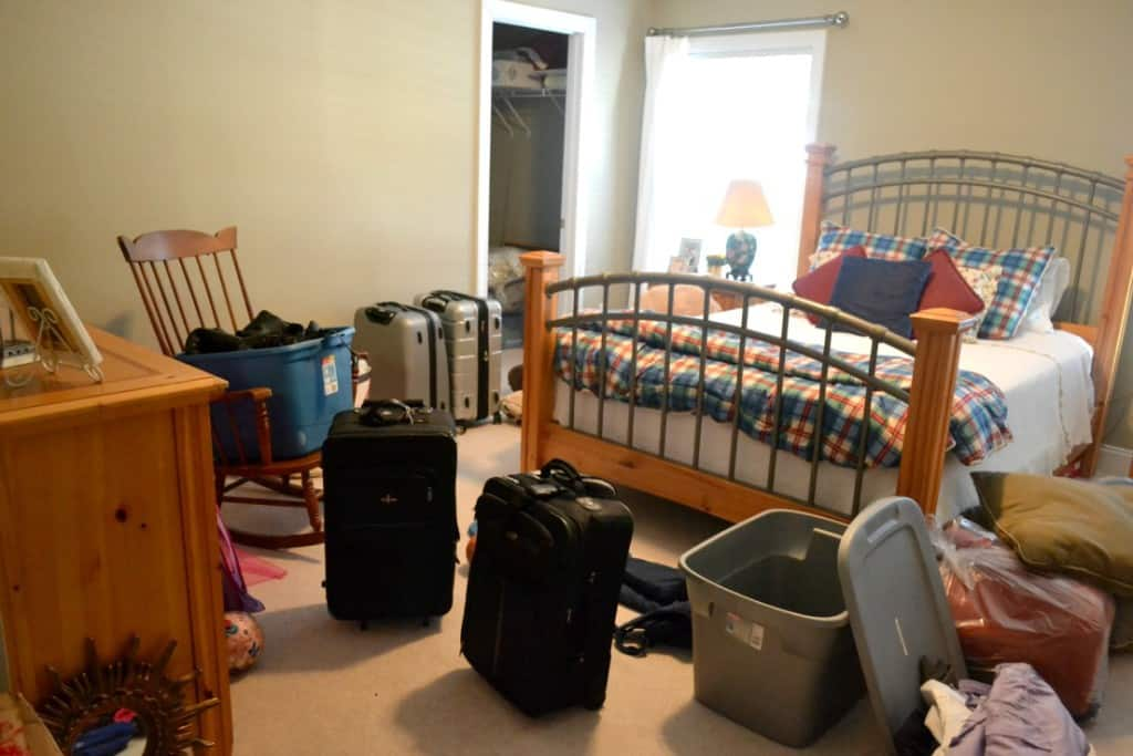 Guest Room Clean Up - Before & After Photos. After a family ski trip this room was completely destroyed. I tackled the mess this morning and here is how I pulled it back together.