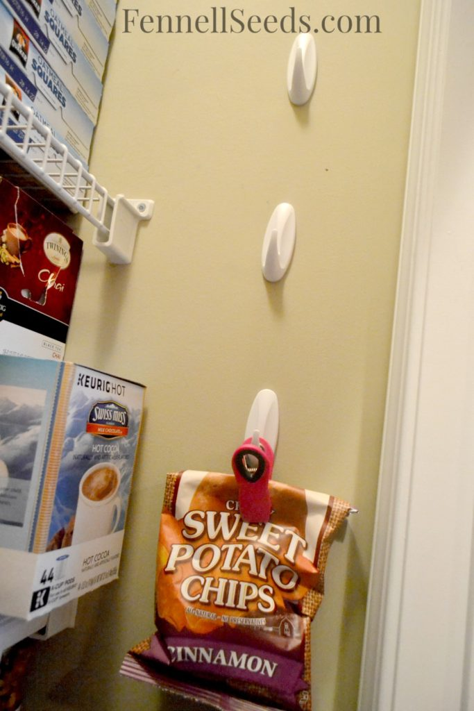 Here is how I hang my bags of chips in the pantry. I can easily see what I have and it frees up a lot of shelf space.
