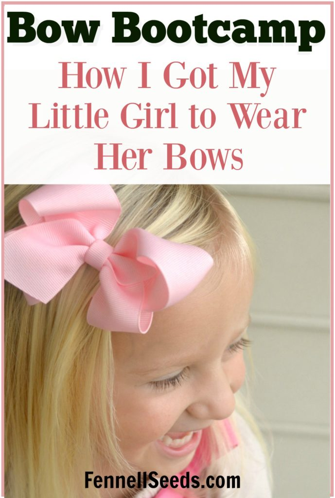 Bow Bootcamp. This works! I used these tips to get my daughter to start wearing bows. When my daughter would rip out her bow as soon as I put it in I was so frustrated and now she wears them all the time.