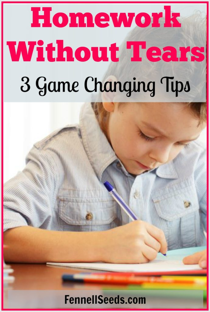 3 tips that helped us get through homework without tears. I especially liked the first tip that starts us off on the right foot and does a lot to help with homework and the tears that come with it.