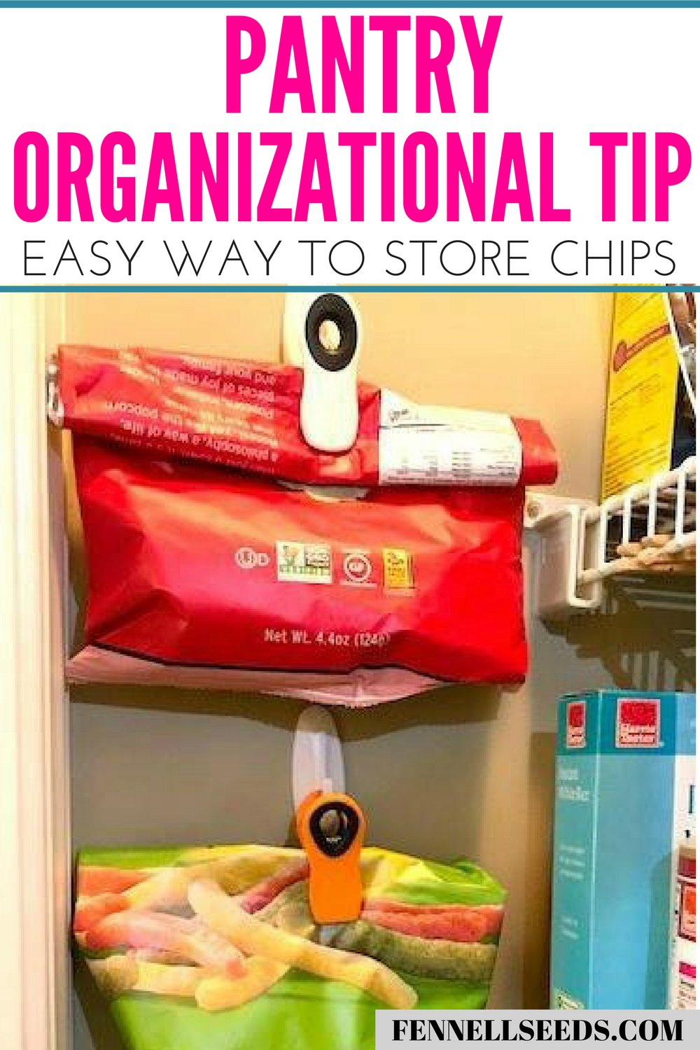 Pantry Organization   Bags of chips organization   Bags of Chips Storage   Pantry Ideas