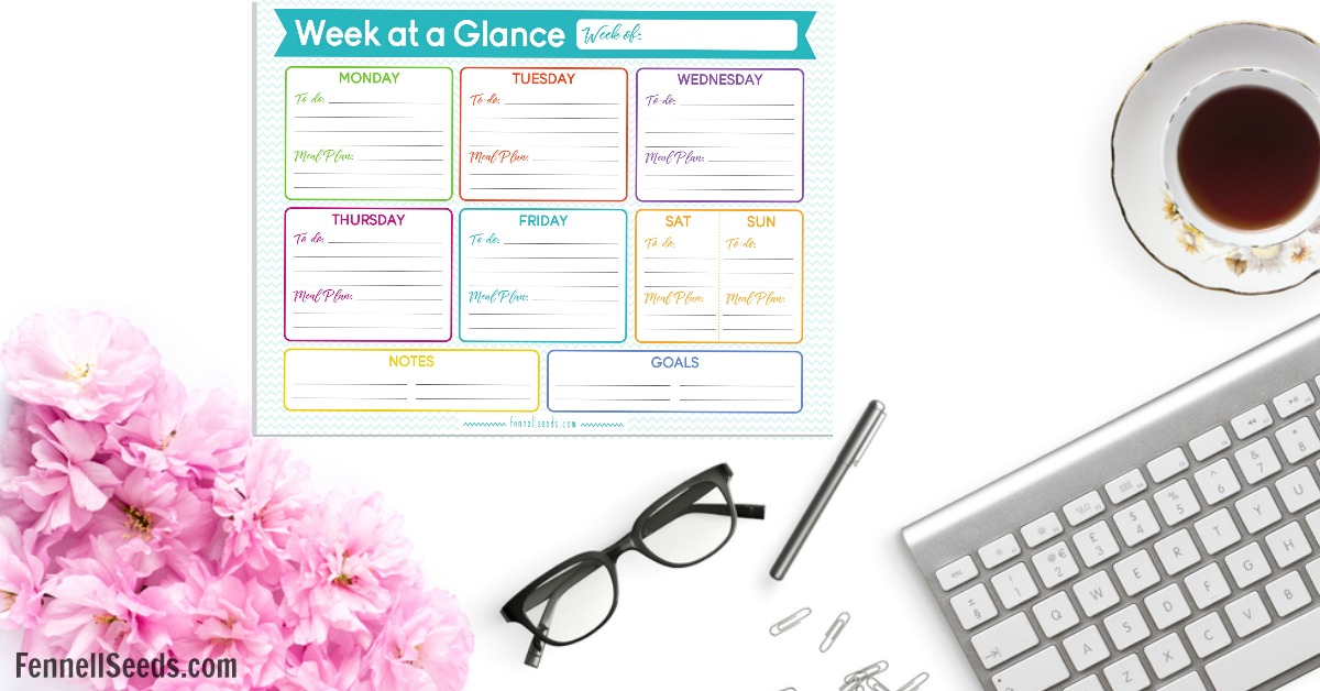 Week at a glance, Weekly To Do List, To Do List, Meal Planning, Organization, Weekly Calendar
