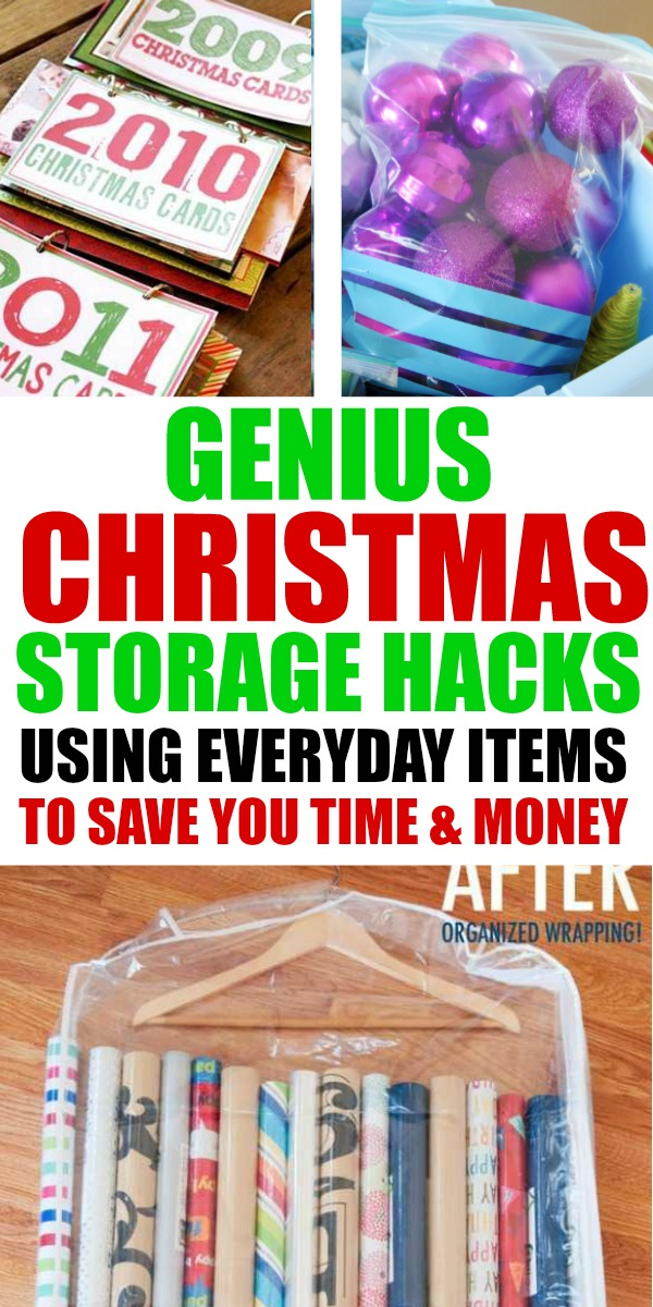 Everyday items that help you with Christmas storage. These Christmas storage ideas and hacks will blow your mind and help make decorating easier.   holiday decor organization   holiday storage   Christmas storage ideas   Christmas Organization Hacks #organization #christmasorganization #holidayorganization #christmasstorage #storageideas