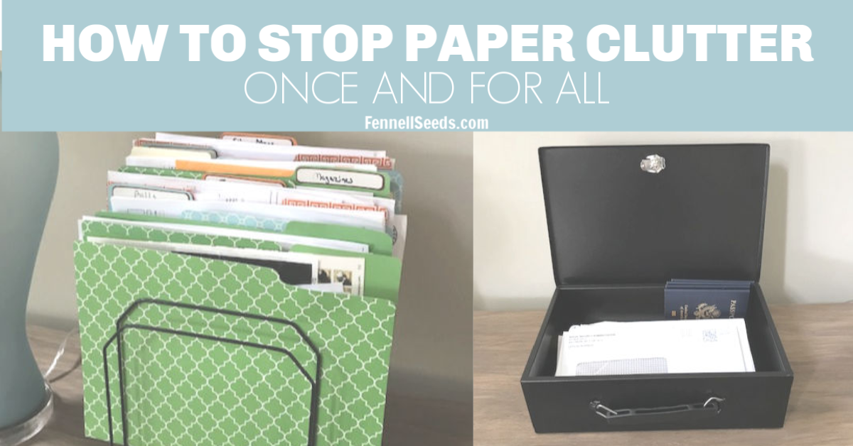 Great tips to organize paper clutter. Pretty file folders and a fire box help to keep the paper work organized.