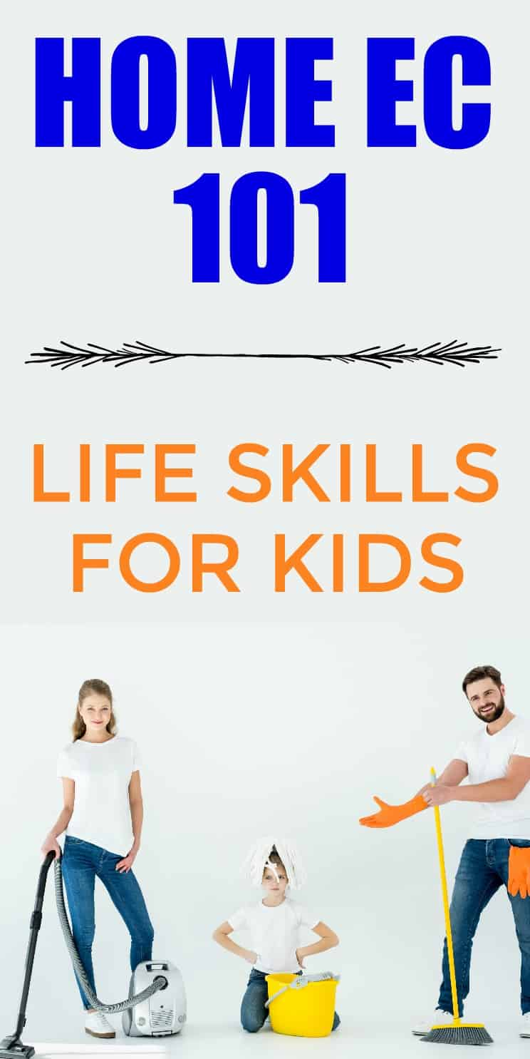 Life Skills for kids. We are trying to teach kids to be productive members of society so we need to make sure to teach these home ec skills whenever we can.