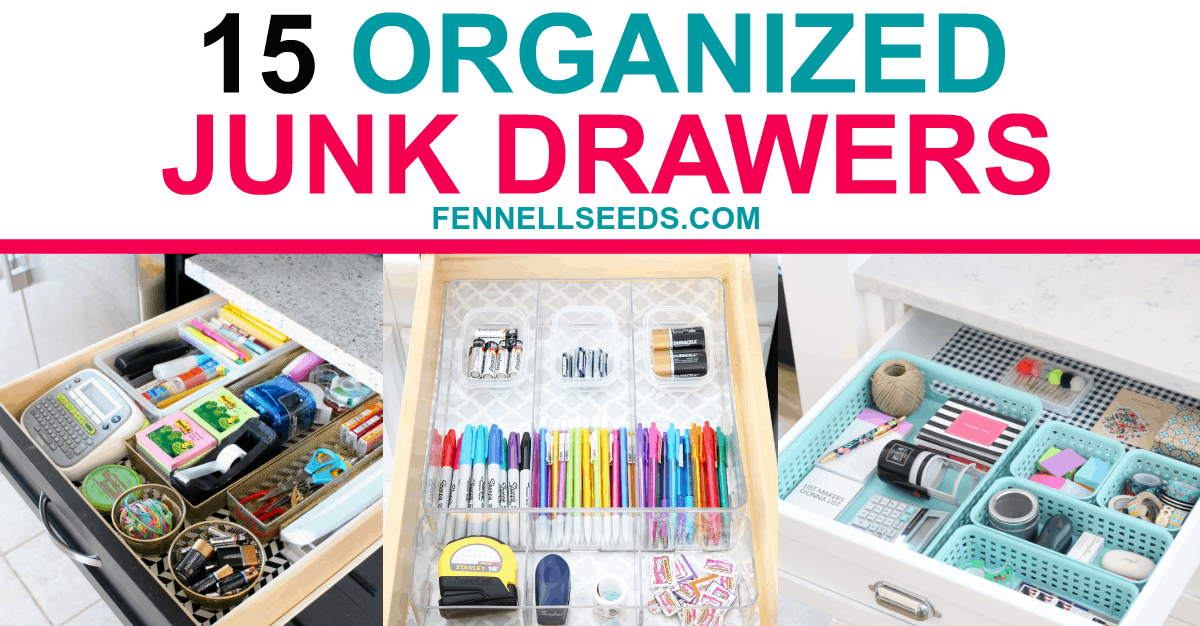 Inspiration to organize your junk drawer and other drawer organization ideas.
